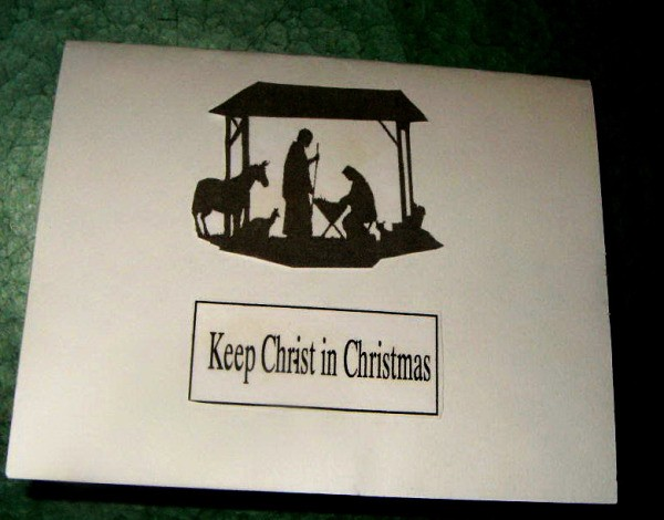 "Nativity Christmas card - Finished card with words ""Keep Christ in Christmas."""