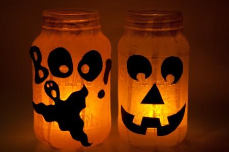Jack-O-Lanterns Glowing at Night